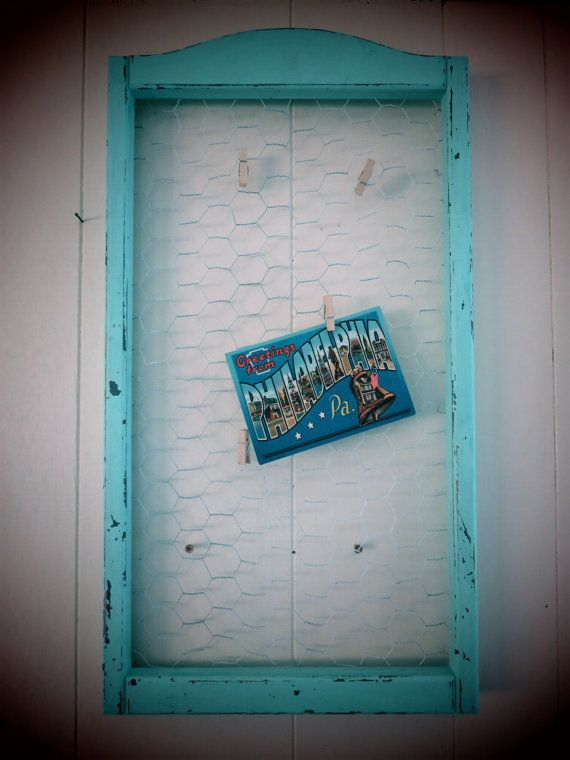 Distressed Blue Chicken Wire Photo Frame, Chicken Wire Picture Frame ...