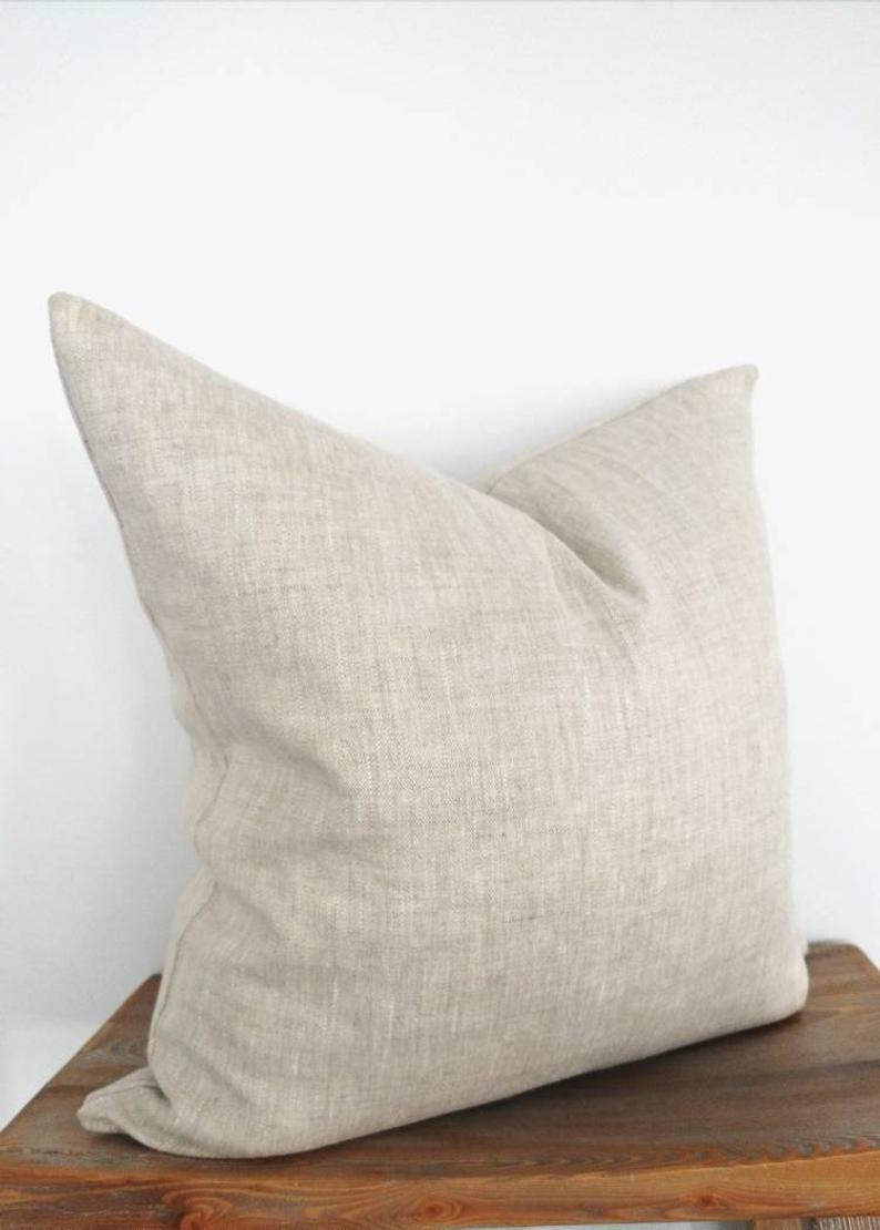modern farmhouse oatmeal linen pillow