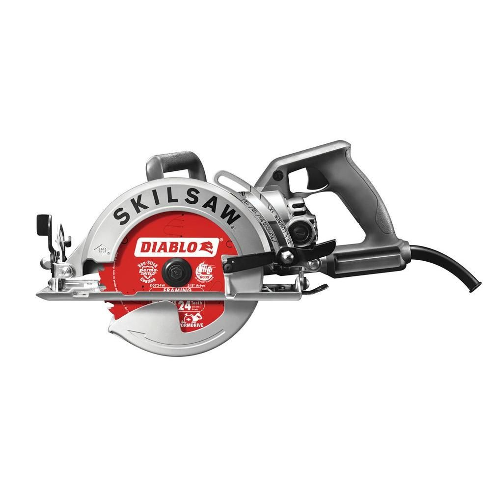 Skilsaw 15 Amp Corded Electric 7 1 4 In Aluminum Worm Drive Circular Saw With 24 Tooth Carbide Tipped Diablo Blade Spt77w 22 The Home Depot Skil Saw Worm Drive Circular Saw Best Circular Saw