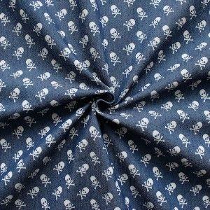 Stretch Denim Jeans Stoff bedruckt  Totenköpfe Mittel   Farbe Jeans-Blau