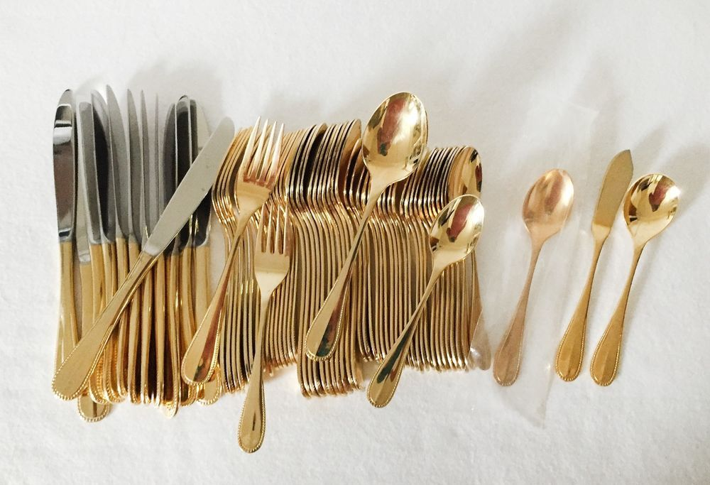 Oxford Hall Crystal Palace Gold Plated Stainless Flatware