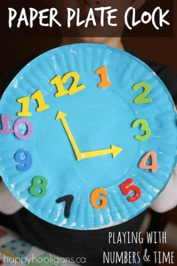 Paper Plate Clock Craft - fun and easy craft for preschoolers.  Great way to work on number recognition, number ordering and telling time.  Painting and gluing is always fun too! - Happy Hooligans