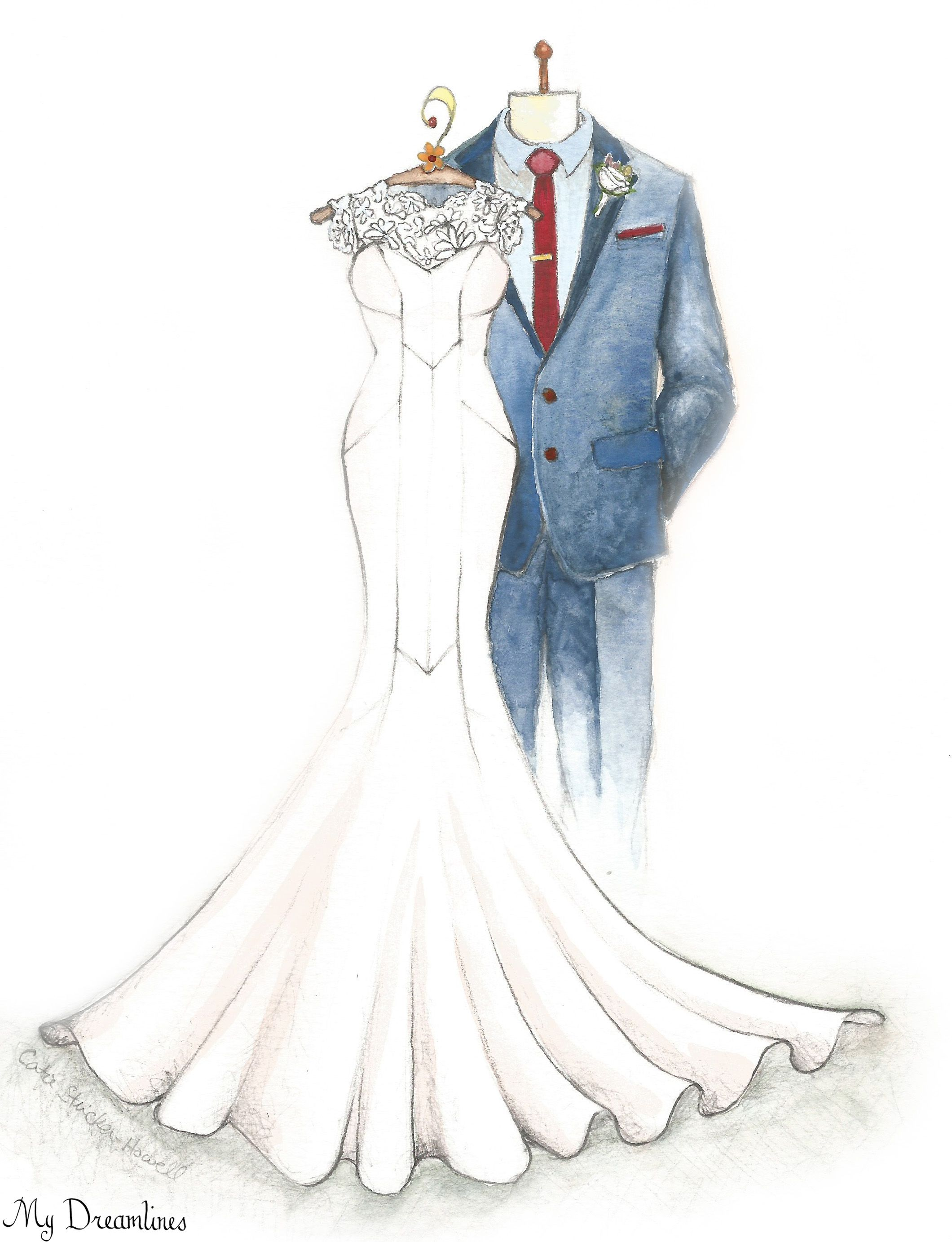 Her Wedding Dress Sketched And Framed Given For A Gift From The Groom To
