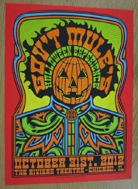Original concert poster for Gov't Mule on Halloween at The Riviera Theatre in Chicago, IL in 2012. Signed as an artist proof by the artist John Warner. 16 x 22 inches.