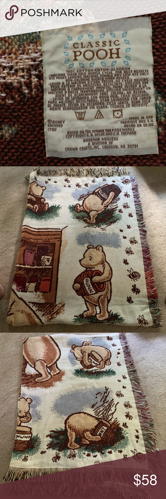 Winnie The Pooh Cotton Goodwin Weavers Blanket Woven Blanket
