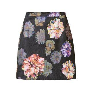 A-lijn rok met bloemenprint Zwart