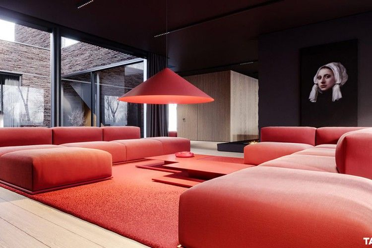 Two Luxury Single Family Houses With Red And Grey Decor Home Designing Living Room Red Red Furniture Living Room Home Interior Design #red #rug #living #room #ideas