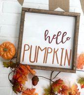Hello Pumpkin Halloween Decor Living Room Decor Fall Decor Fall Sign Pumpkin Halloween Sign Pumpkin Decor Welcome Sign PaintandPineDesigns