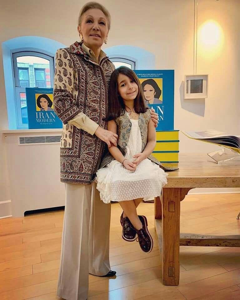 H I M Sgahbanou Farah Diba Pahlavi The Queen Of Iran And Her Grandchild Princess Iriana Pahlavi 2018 With Images Persian Fashion Farah Diba Royal Fashion