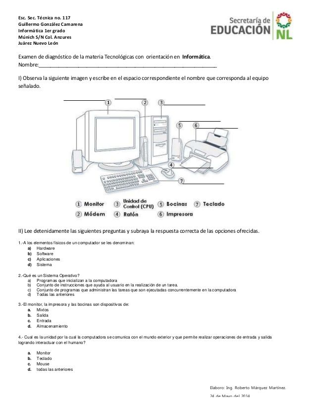 Esc. Sec. Técnica no. 117 Guillermo González Camarena Informática ...