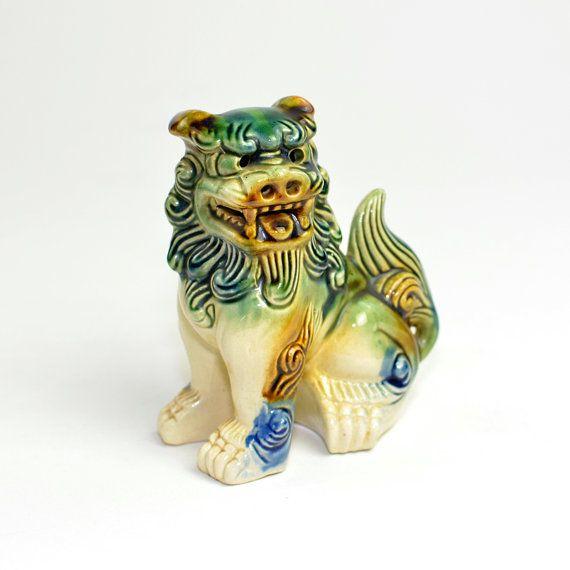 Foo Dog Figurine Glazed Ceramic Statue Chinese Guardian Lion Made In Taiwan