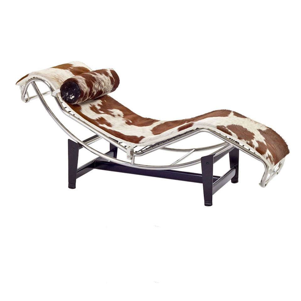 Le Corbusier Chaise Lounge Chair In White & Brown