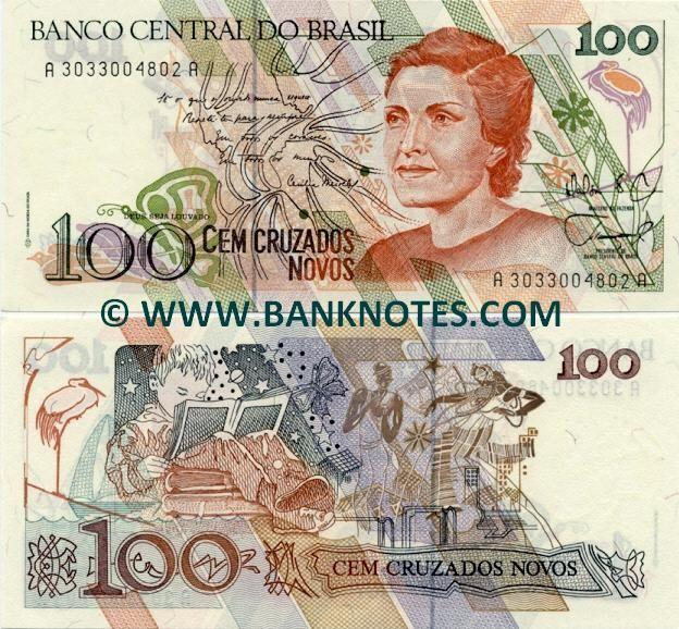 Brazil Currency Brazil 100 Cruzados Novos 1989 Brazilian