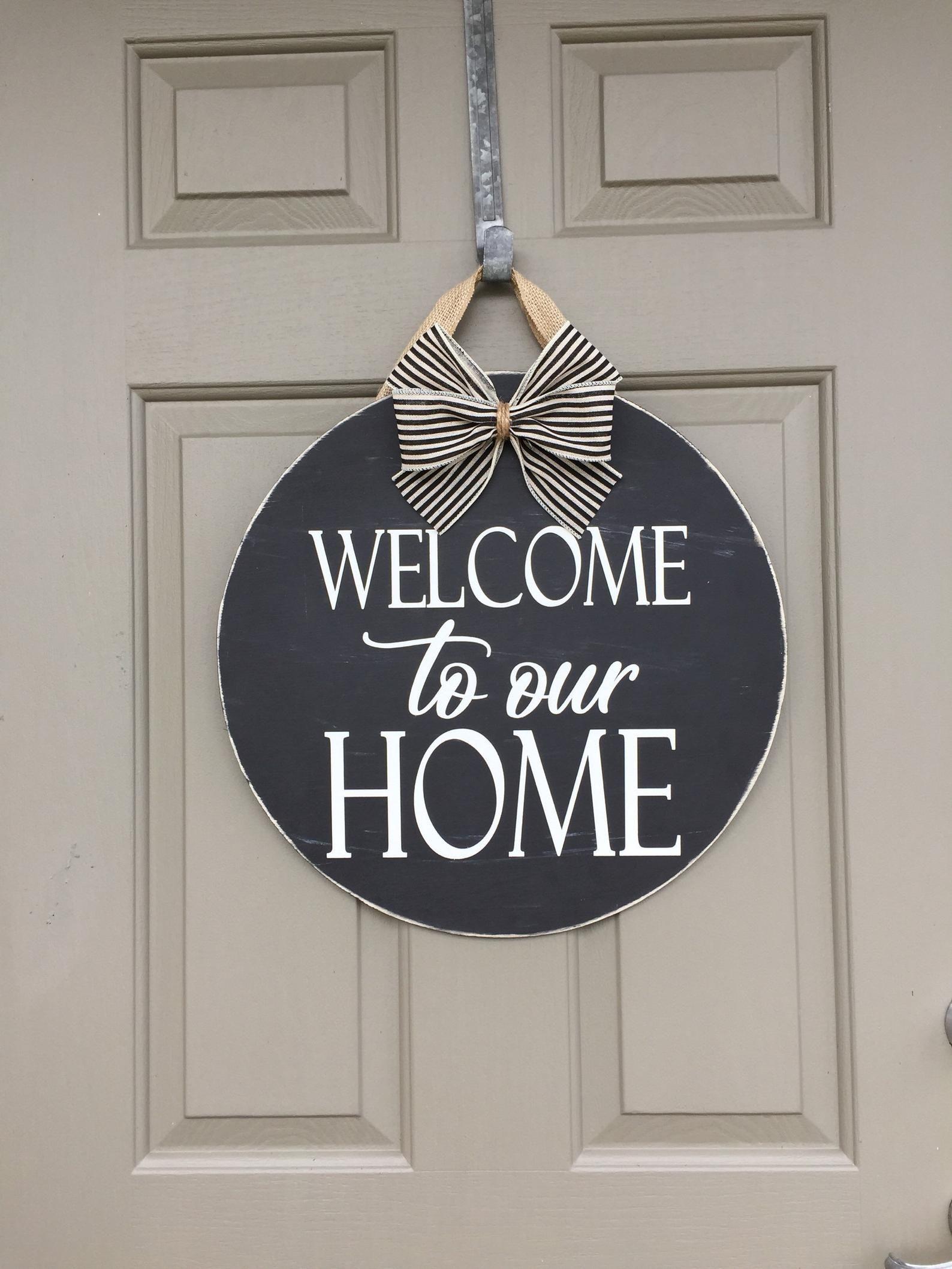 Welcome To Our Home Door Hanger Front Door Rustic Etsy In 2020 Door Hangers Porch Signs Welcome Sign