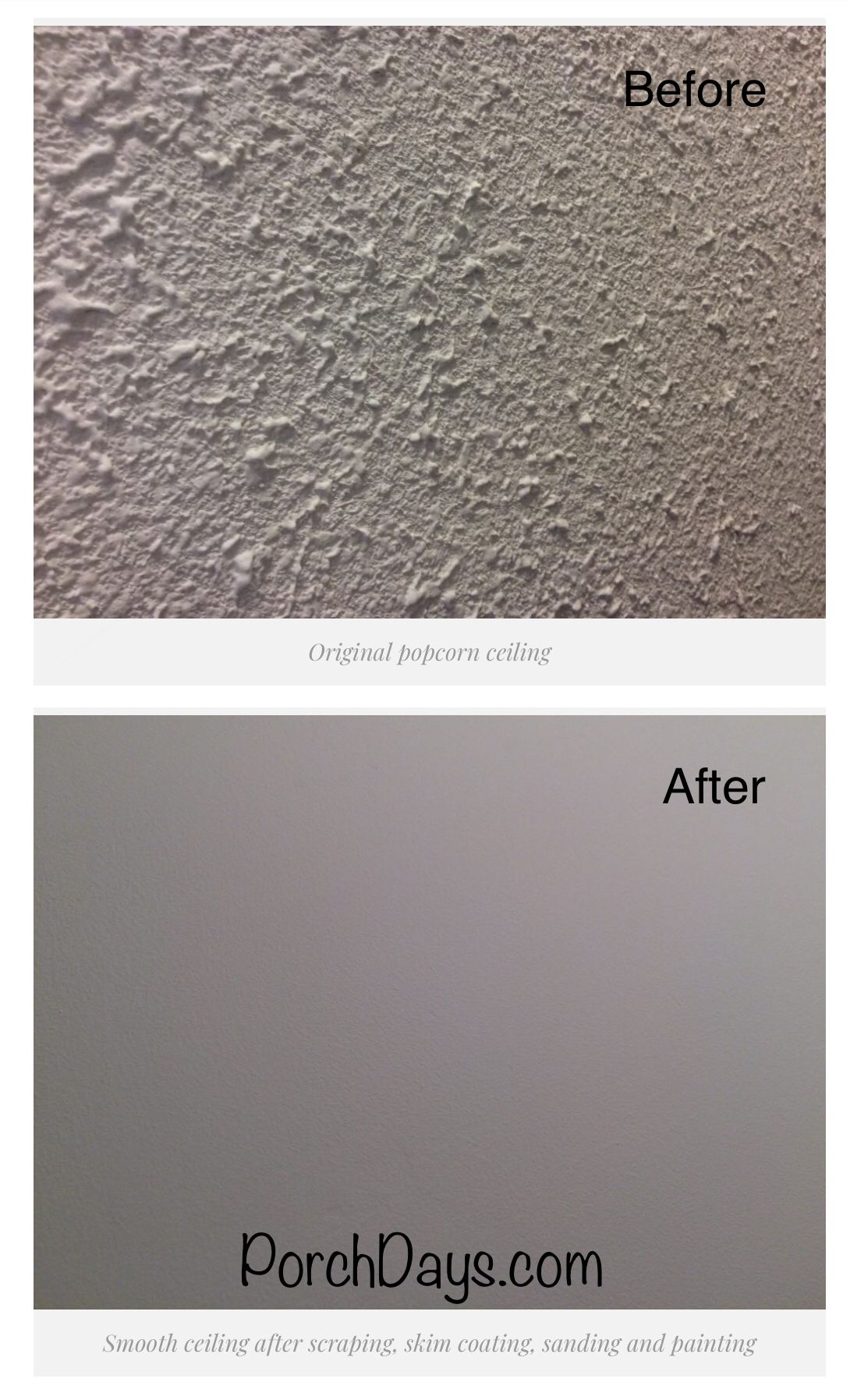 How To Remove A Popcorn Ceiling By Sing Skim Coating And Painting