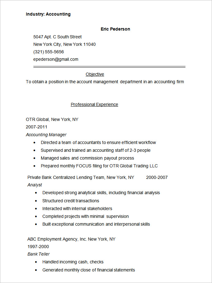 Accountant Resume Format Accountant Resume Format In Word Accountant Resume Format In Indi In 2020 Resume Format In Word Sample Resume Templates Simple Resume Sample