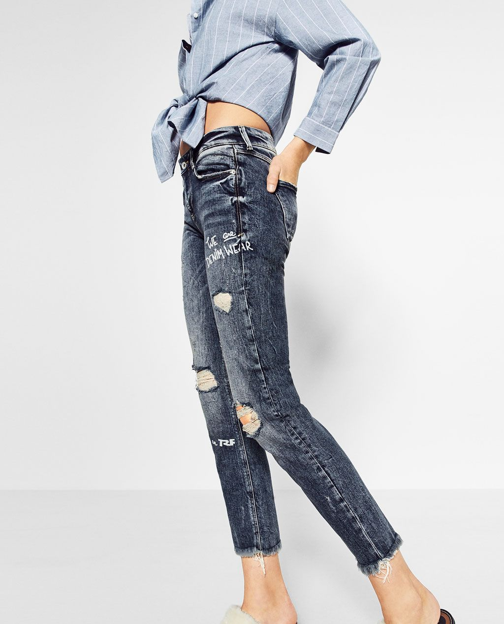 Printed slim fit jeans view alljeanswoman zara
