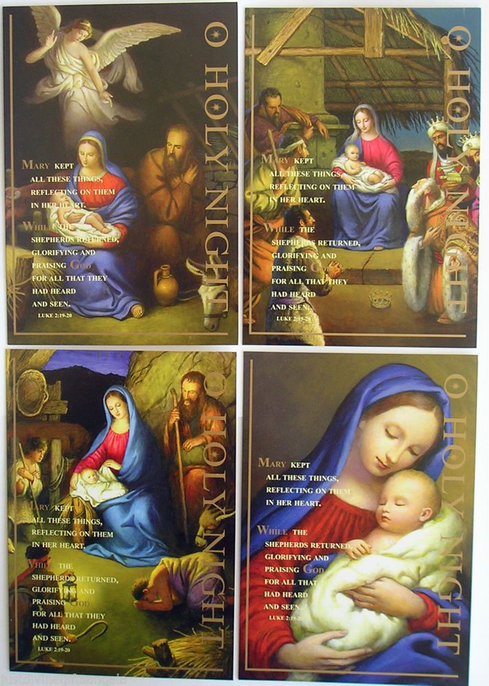 Pack 9 Religious Christmas Cards O Holy Night Catholic / Christian ...