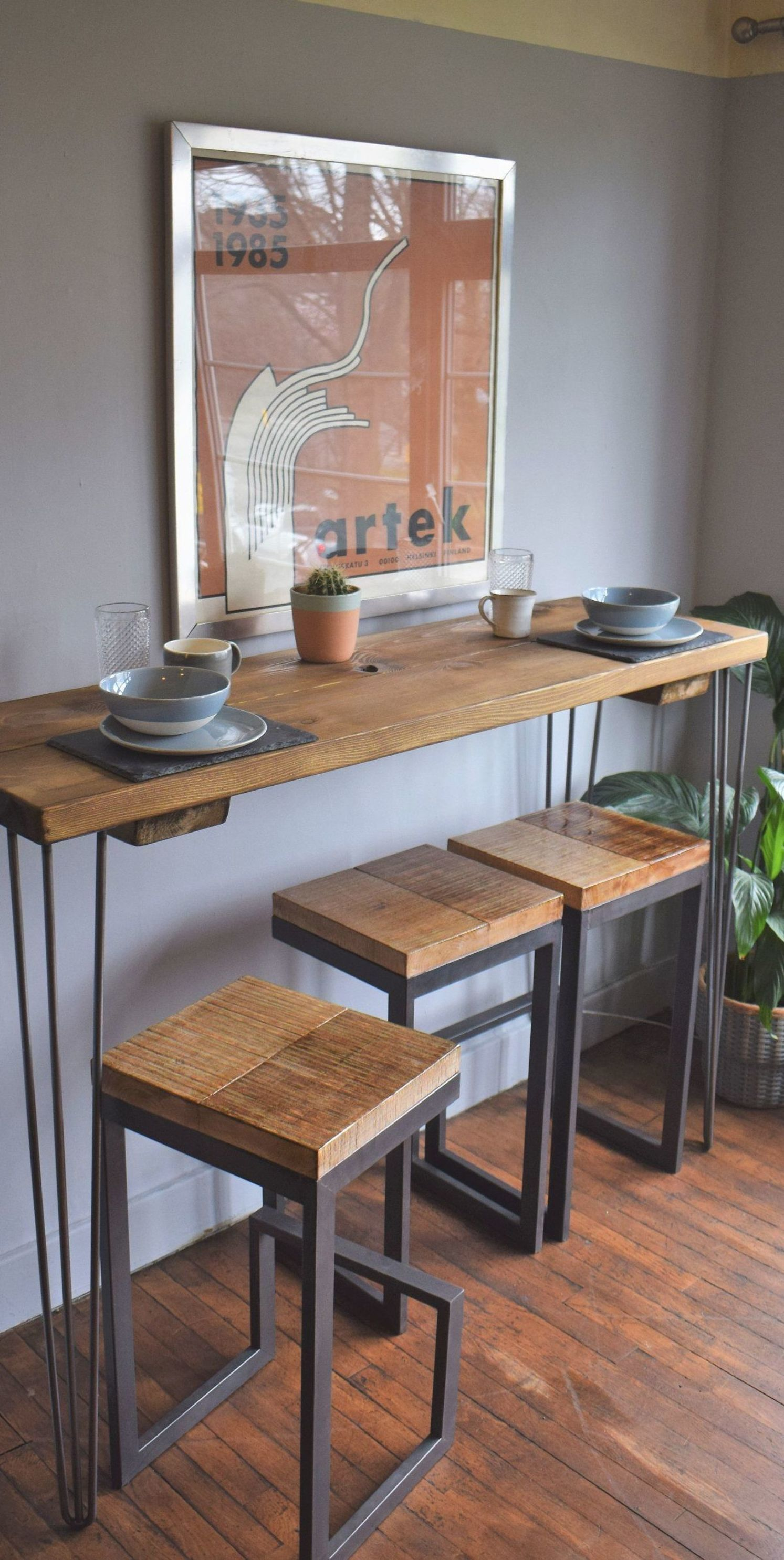 Excited to share this item from my #etsy shop: Tall Reclaimed wood Industrial Hairpin Legs Kitchen Breakfast Bar & Stools  - delivery possible #kitchentable #diningroomtable #table #hairpinlegs #midcenturymodern #midcentury
