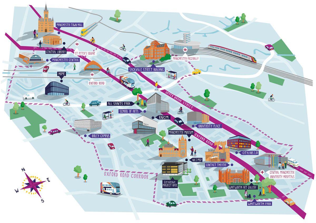 University Of Manchester Campus Map.Manchester Map Illustration Kerryhyndman Co Uk Map Illustration