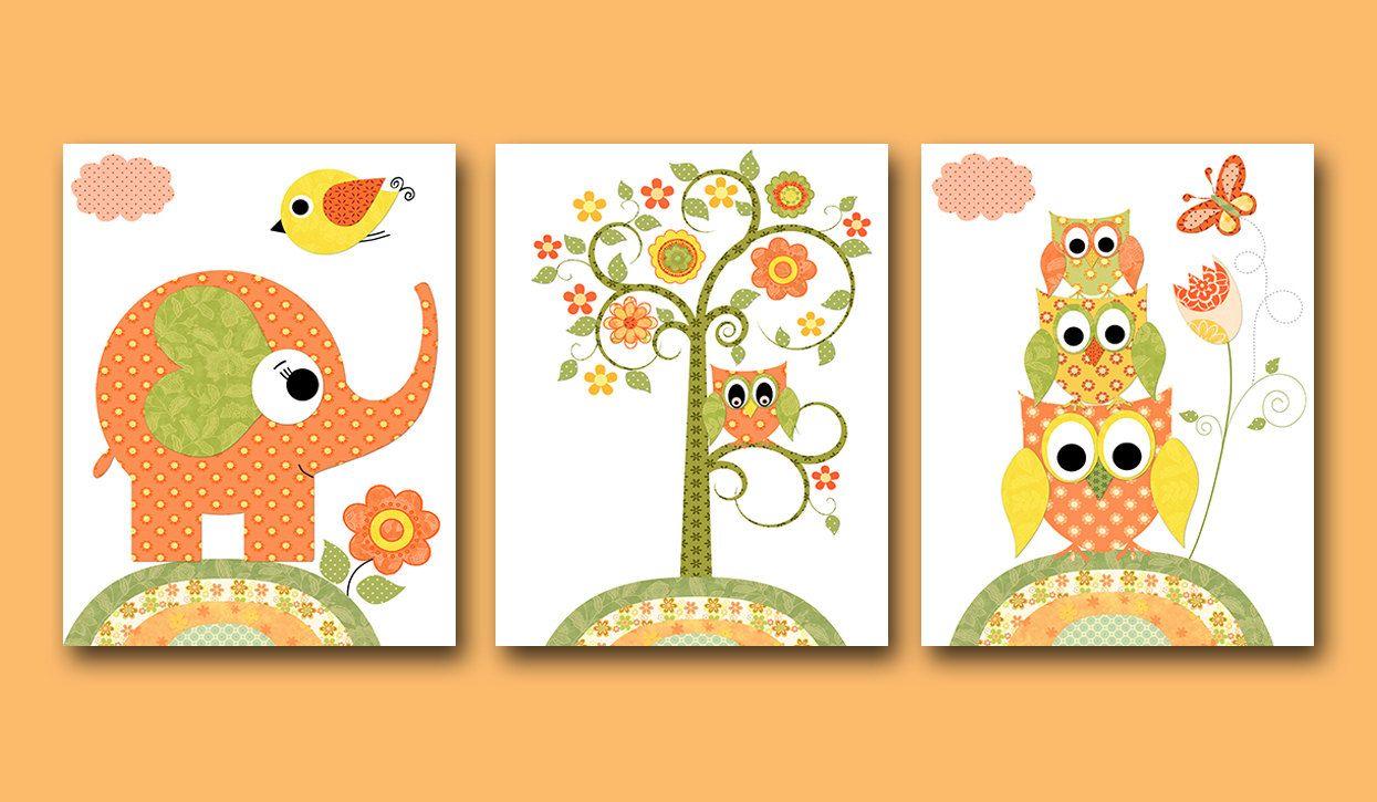 Owl Decor Owl Nursery Elephant Nursery Baby Girl Nursery Decor ...