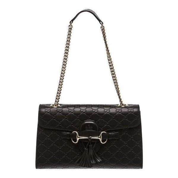 Gucci Black Leather Guccissima Emily Shoulder Handbag (5607005 PYG) ❤ liked on Polyvore featuring bags, handbags, shoulder bags, leather shoulder handbags, gucci handbags, real leather purses, gucci purse and genuine leather shoulder bag