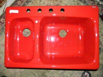 New Kohler Chili Pepper Red Cast Iron Double Bowl Kitchen Sink Double Bowl Kitchen Sink Sink Cast Iron