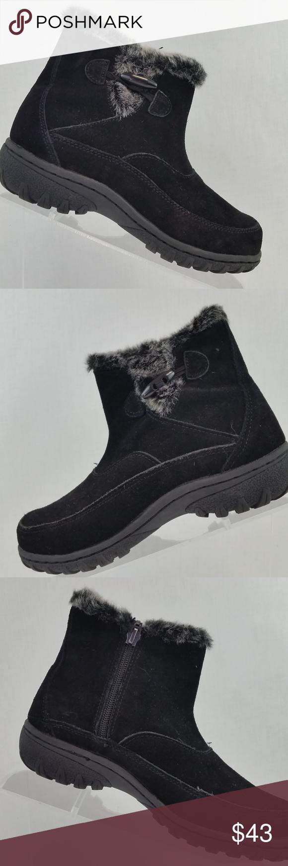 d298ef8d0f4 KHOMBU Women s Blk Suede Winter Ankle Boot size 6M Khombu Grace bootie  features  - Black
