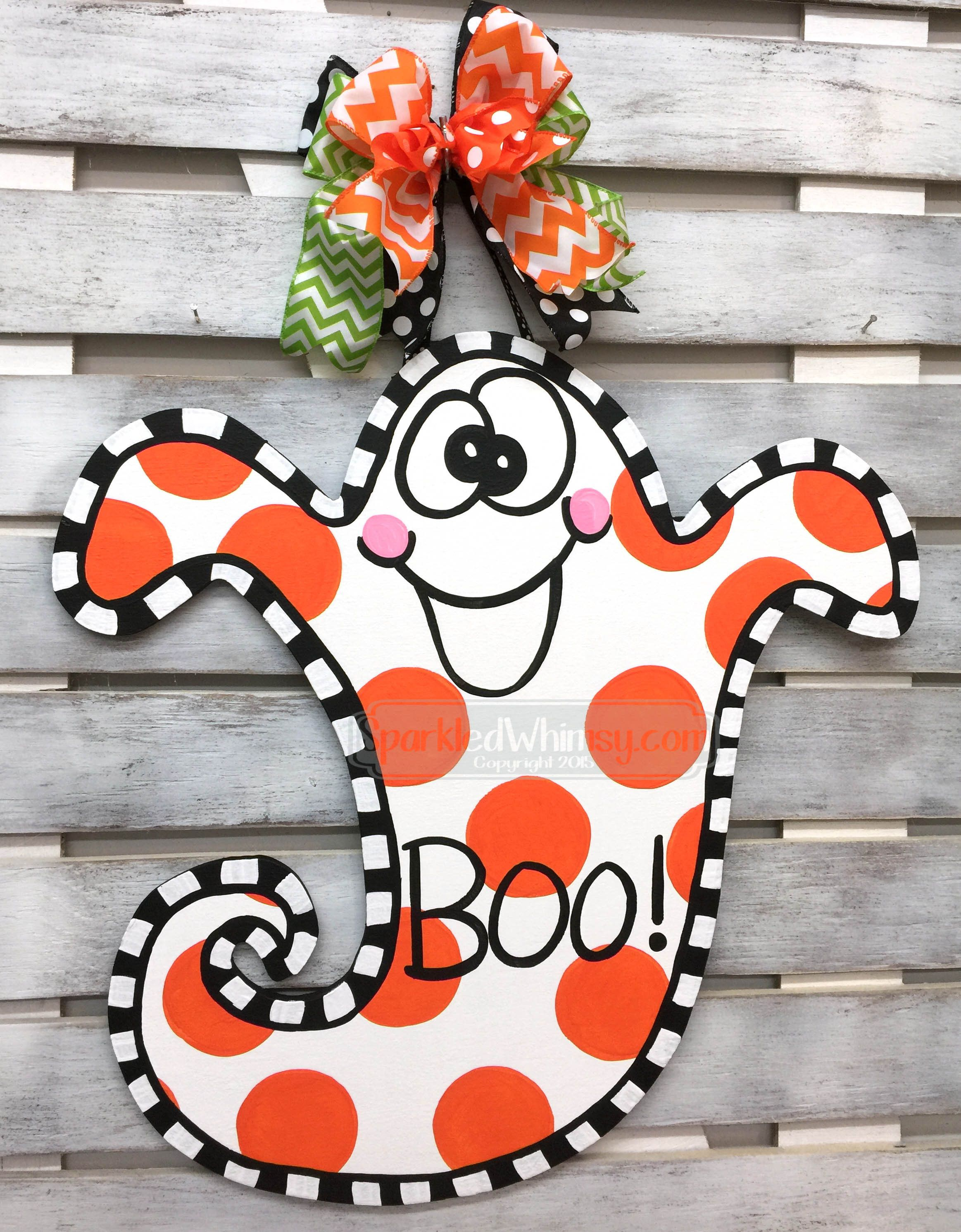 BOO Door Hanger Halloween Decor Chevron BOO Sign by