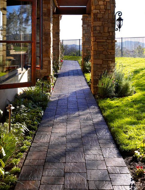 20 Stone Walkway Ideas for Homes and Gardens | Stone ... on Patio Designs For Straight Houses id=51804
