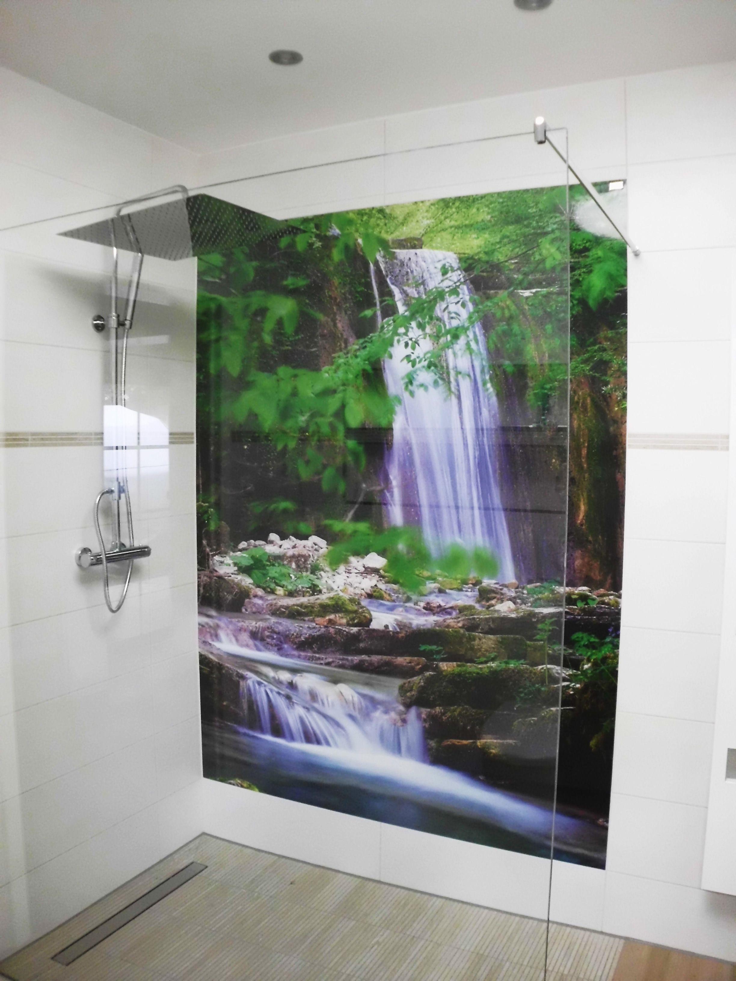 Dusche Mit Motiv Wasserfall Duschruckwand Fototapete Badezimmer Dachgeschoss