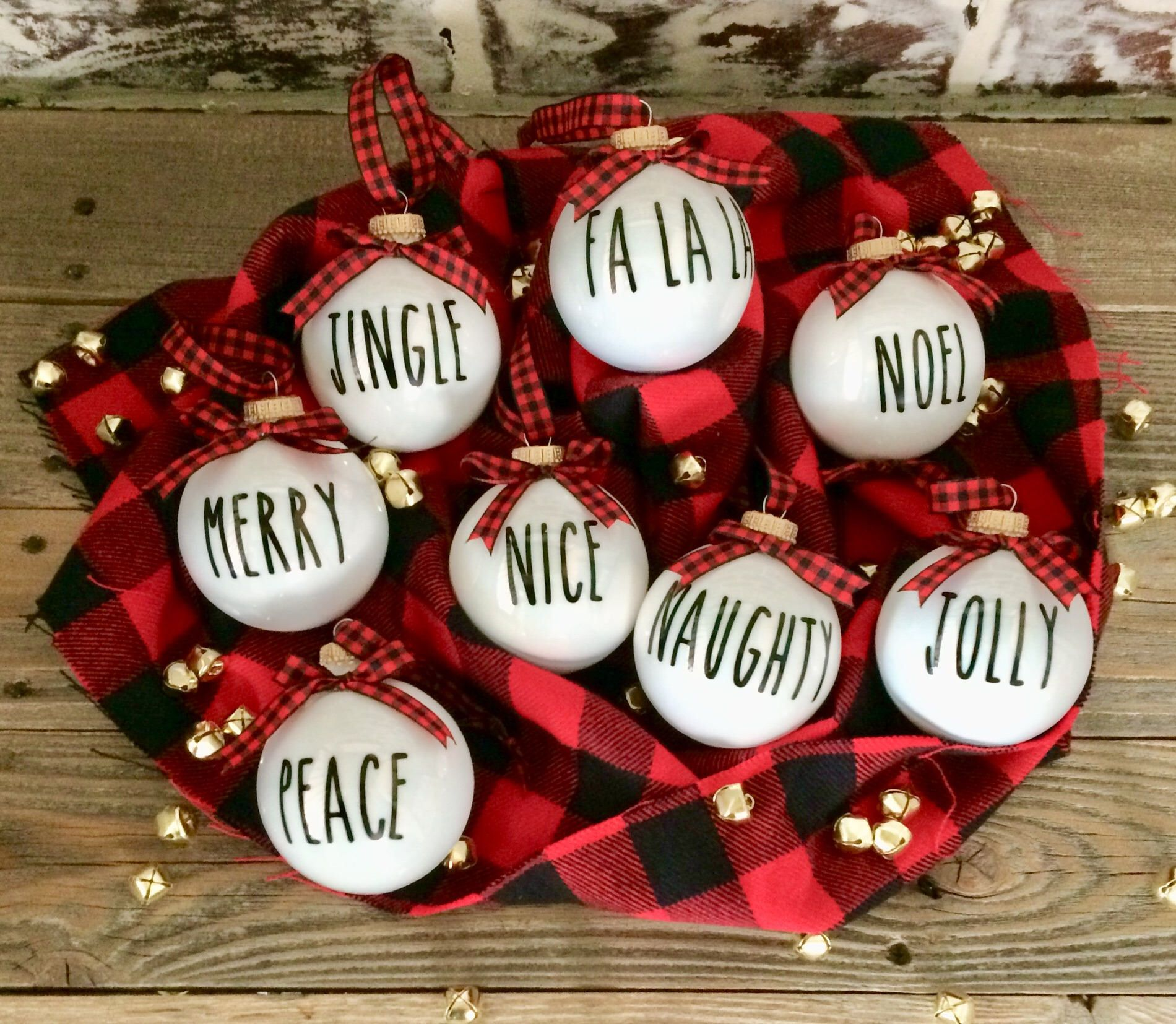 8 Rae Dunn Inspired Christmas Ornaments White And Black Ornaments