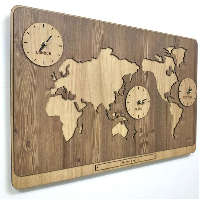3 in 1 world map clocks modern wall art decoration kitchen living wooden world map clock has 3 time zones wall vintage decoration on the table or shelf gumiabroncs Image collections