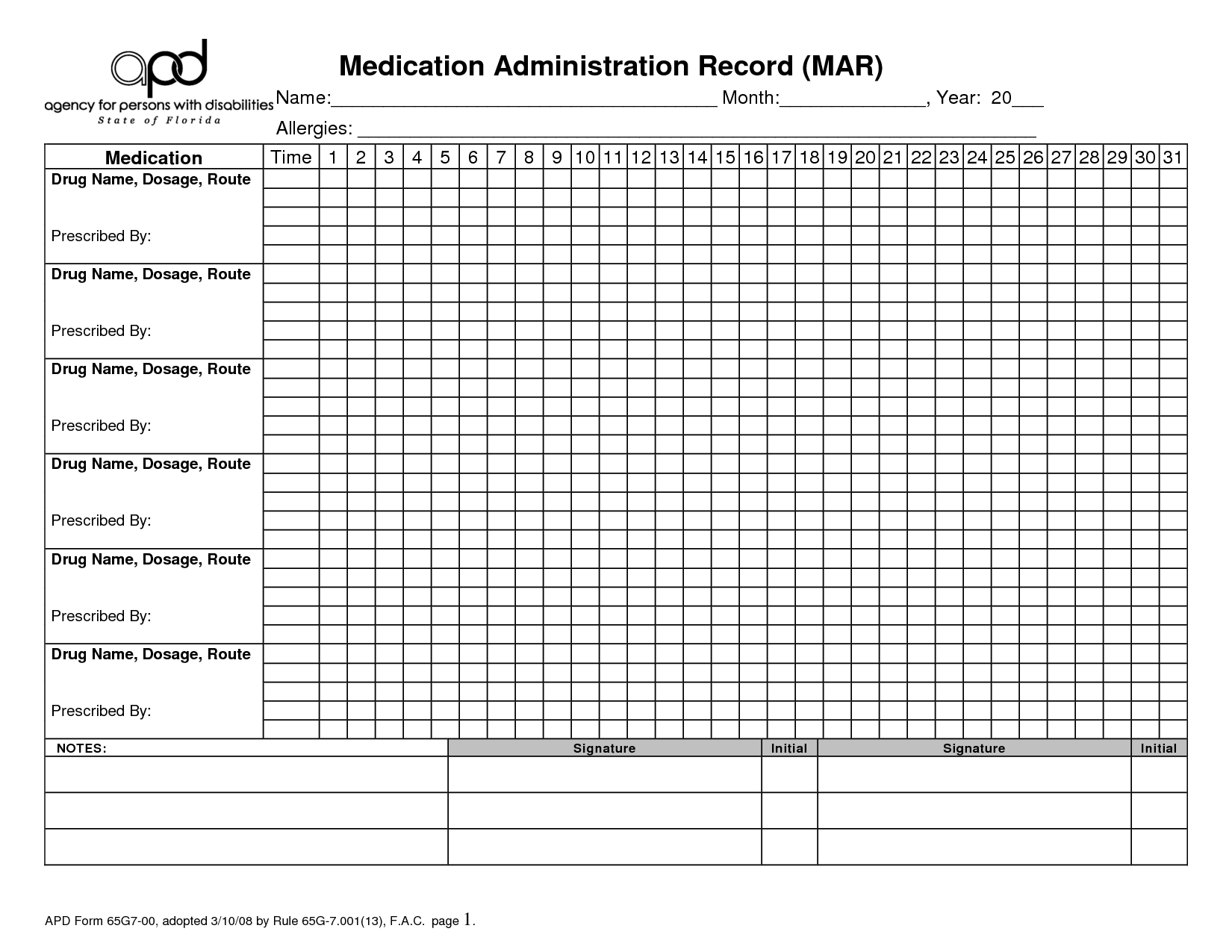 Medication Record Printable Administration