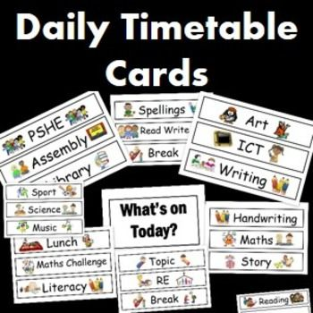 Visual Timetable Cards- Editable Visual learning, Visual - daily timetable