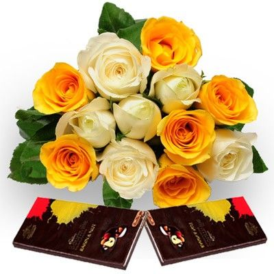 Check Out Our New Products Roses With Dark Chocolate Mothers Day Bunch Of 6 White Amp 6 Yellow Roses In Flower Gift Send Gift Anniversary Gifts For Husband