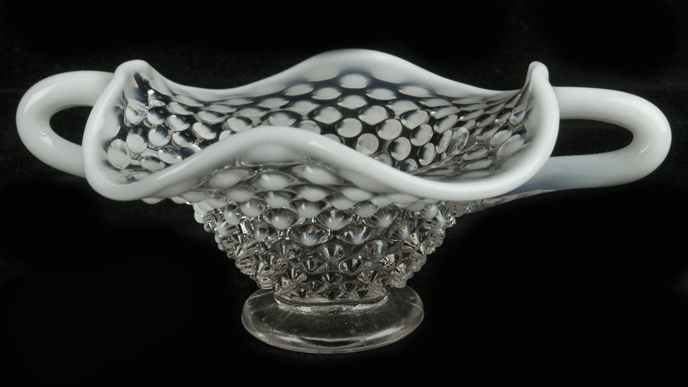 vintage FENTON vase RUFFLE EDGE Hobnail white opalescent CANDY DISH handled