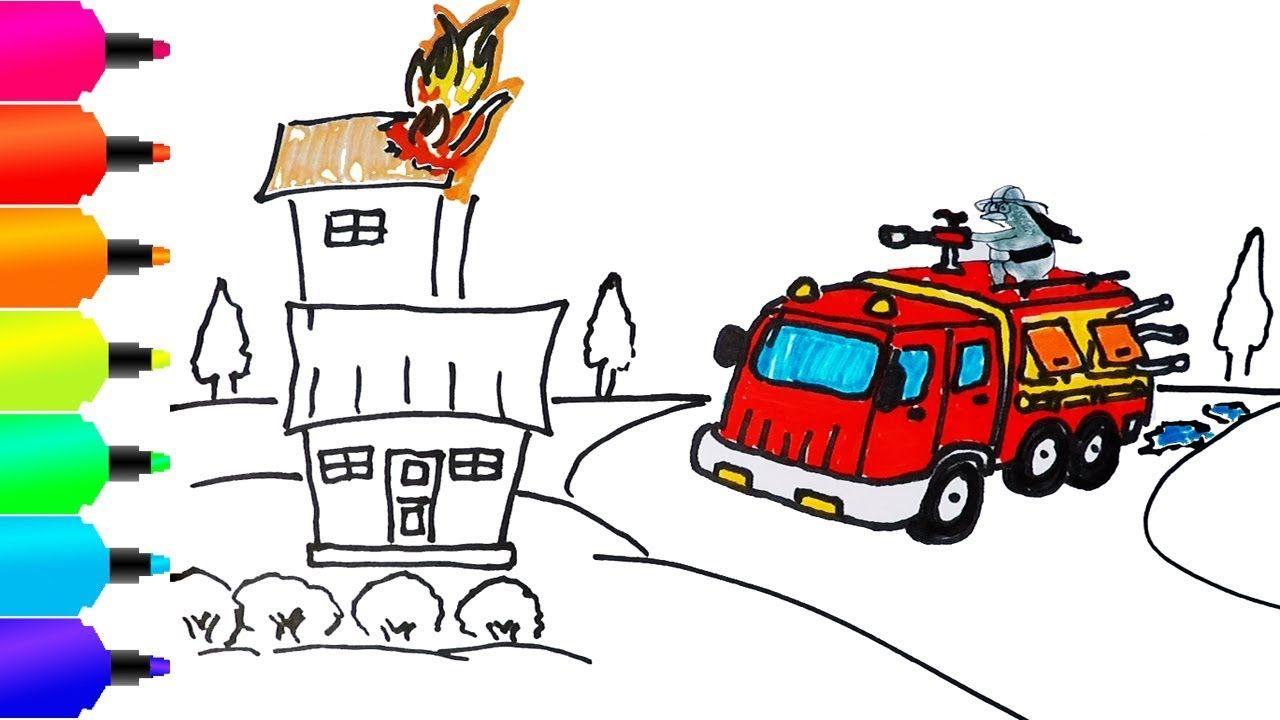 Mobil Mainan Truk Pemadam Kebakaran Menggambar Dan Mewarnai Learn C Pemadam Kebakaran Kartun Gambar