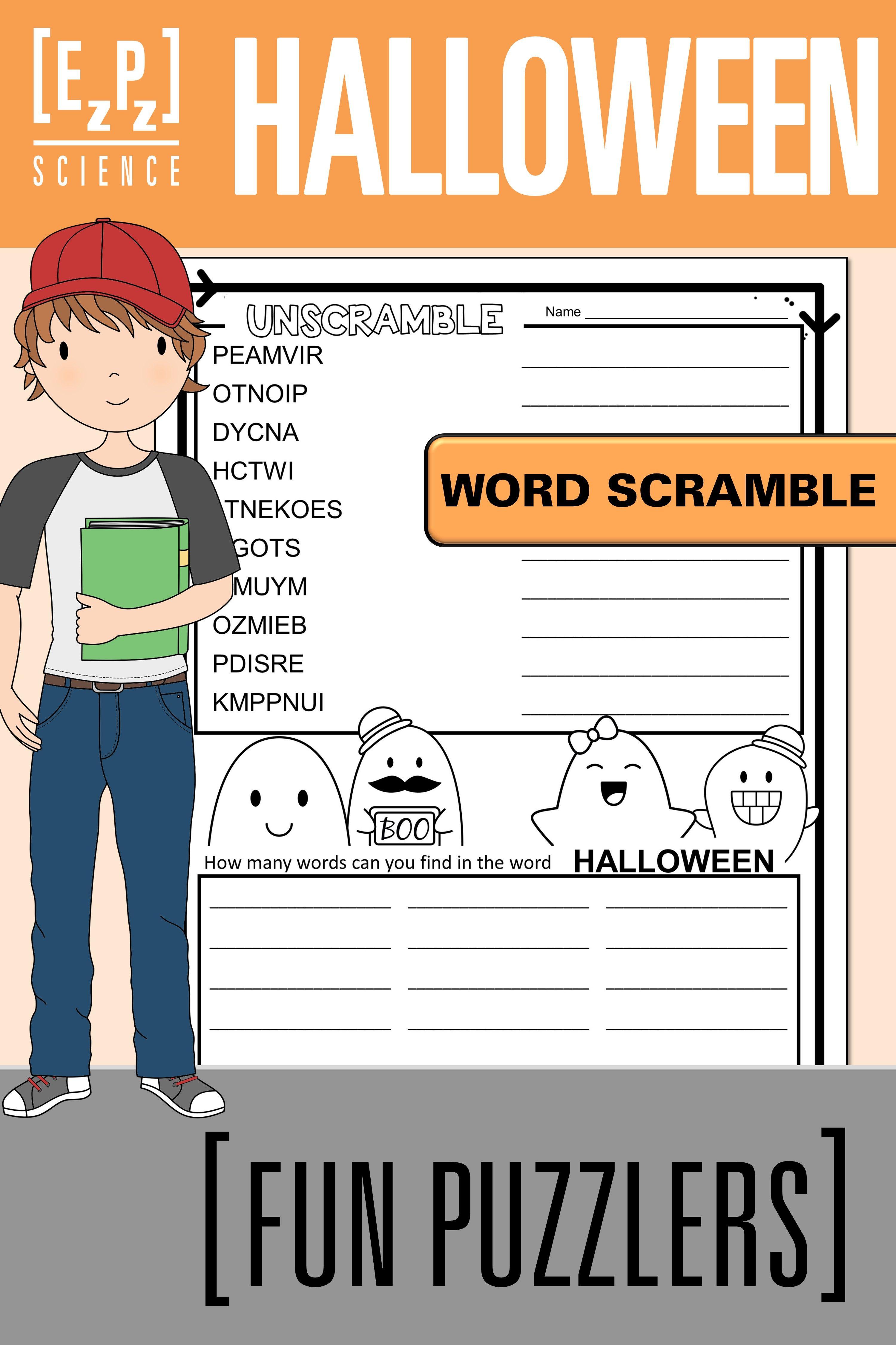 Halloween Word Scramble Fun Puzzler