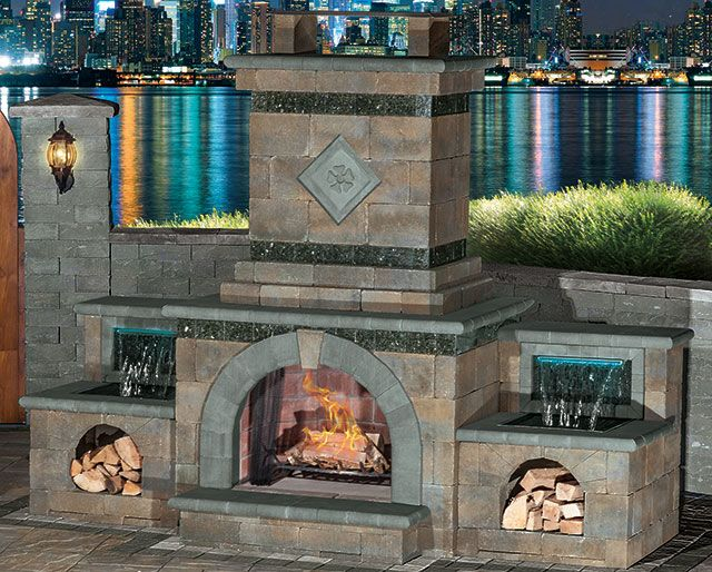 patio fireplace and fountain made with blocks Cambridge Fully