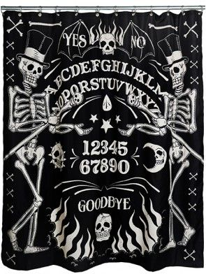 Skeleton Ouija Shower Curtain By Too Fast Black Inked Inkedshop Inkedmagazine Showercurtain