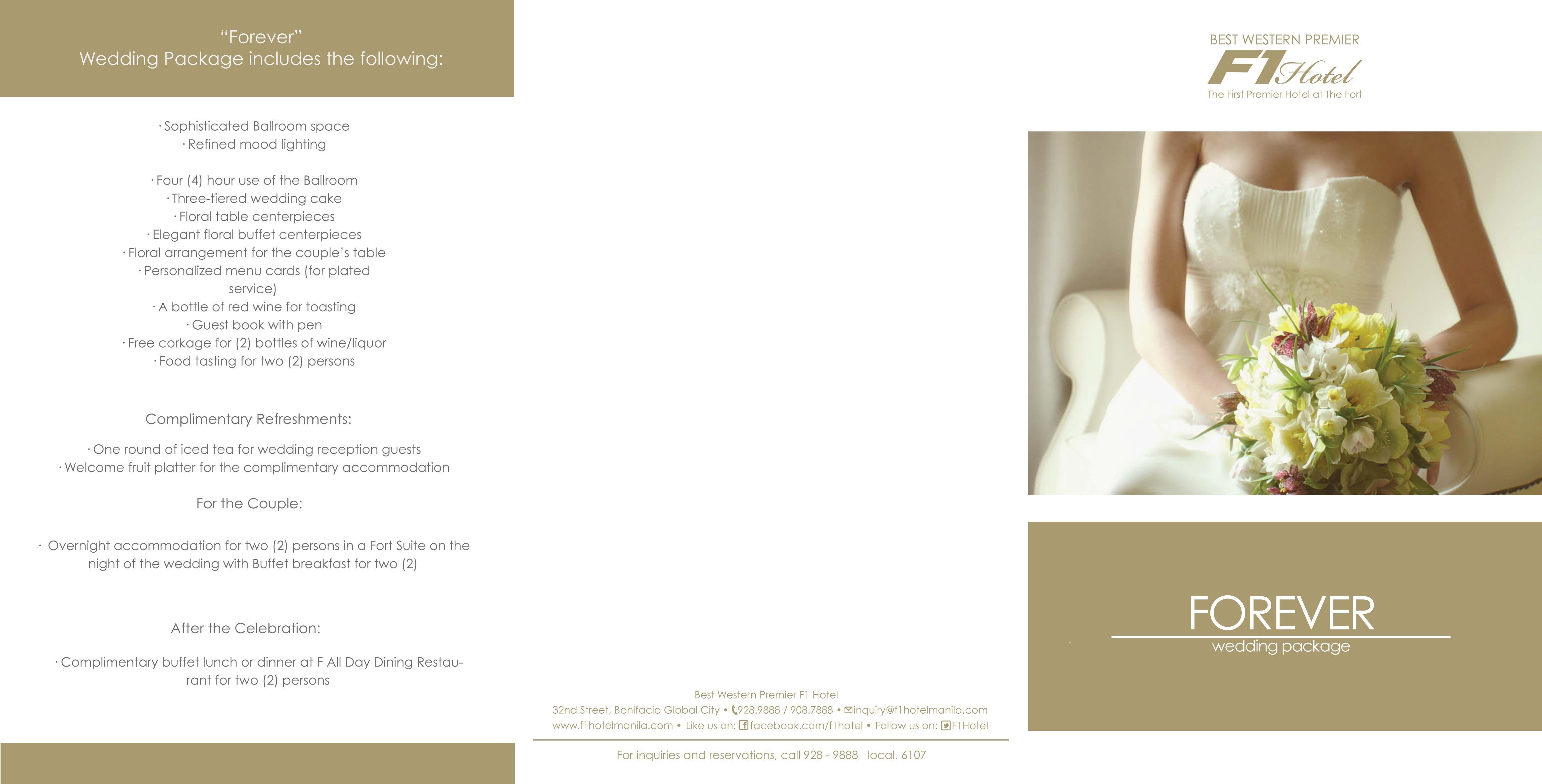 Wedding Package Brochure | Best Western Premier - F1 Hotel ...