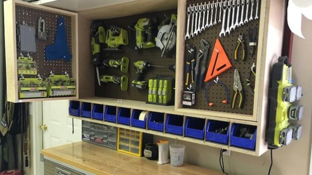 Make A Fold Out Space Saving Tool Storage Cabinet For Your Garage Or Workshop Tool Storage Cabinets Tool Storage Diy Garage Tool Storage