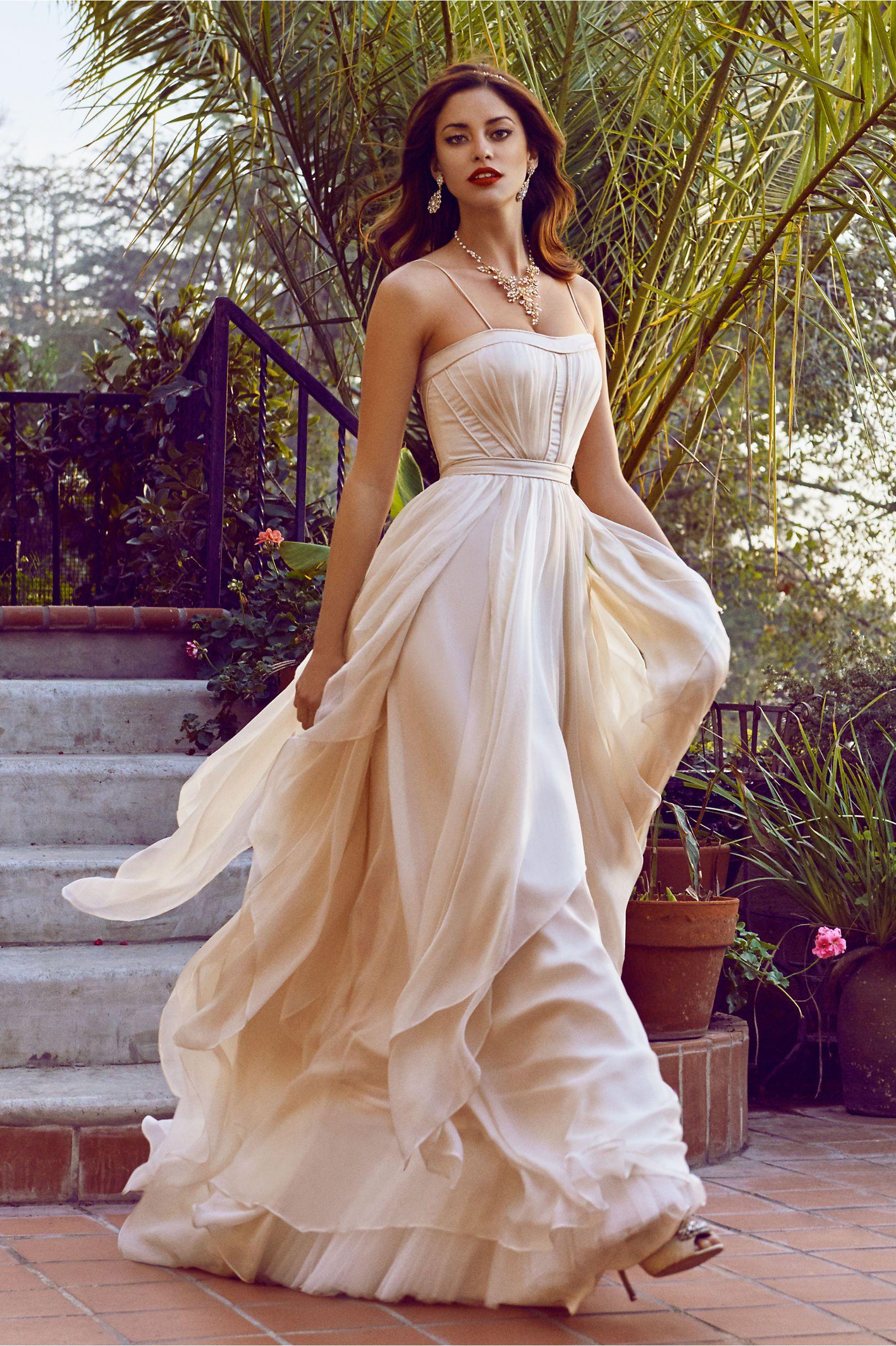 Cascada gown and cascada petticoat in bride wedding dresses at bhldn