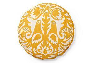 One Kings Lane - Sunny Disposition - Kaja Round Flax Cotton Pillow, Orange