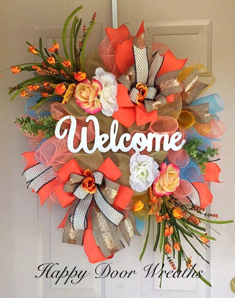 Welcome Summer Wreath By Happy Door Wreaths Summer Decor Wreaths Deco Mesh Wreaths