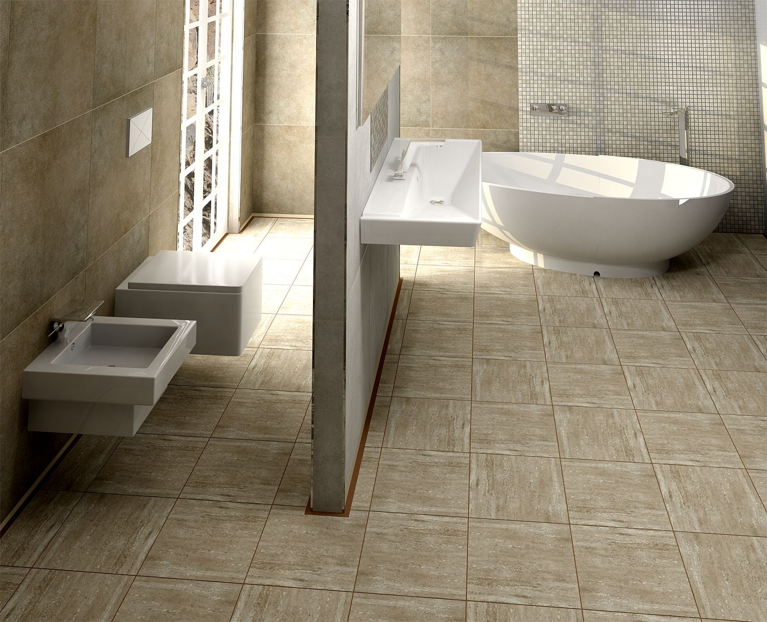 This bathroom\'s Noce coloured, Porcelain, Romano series tiles bring ...