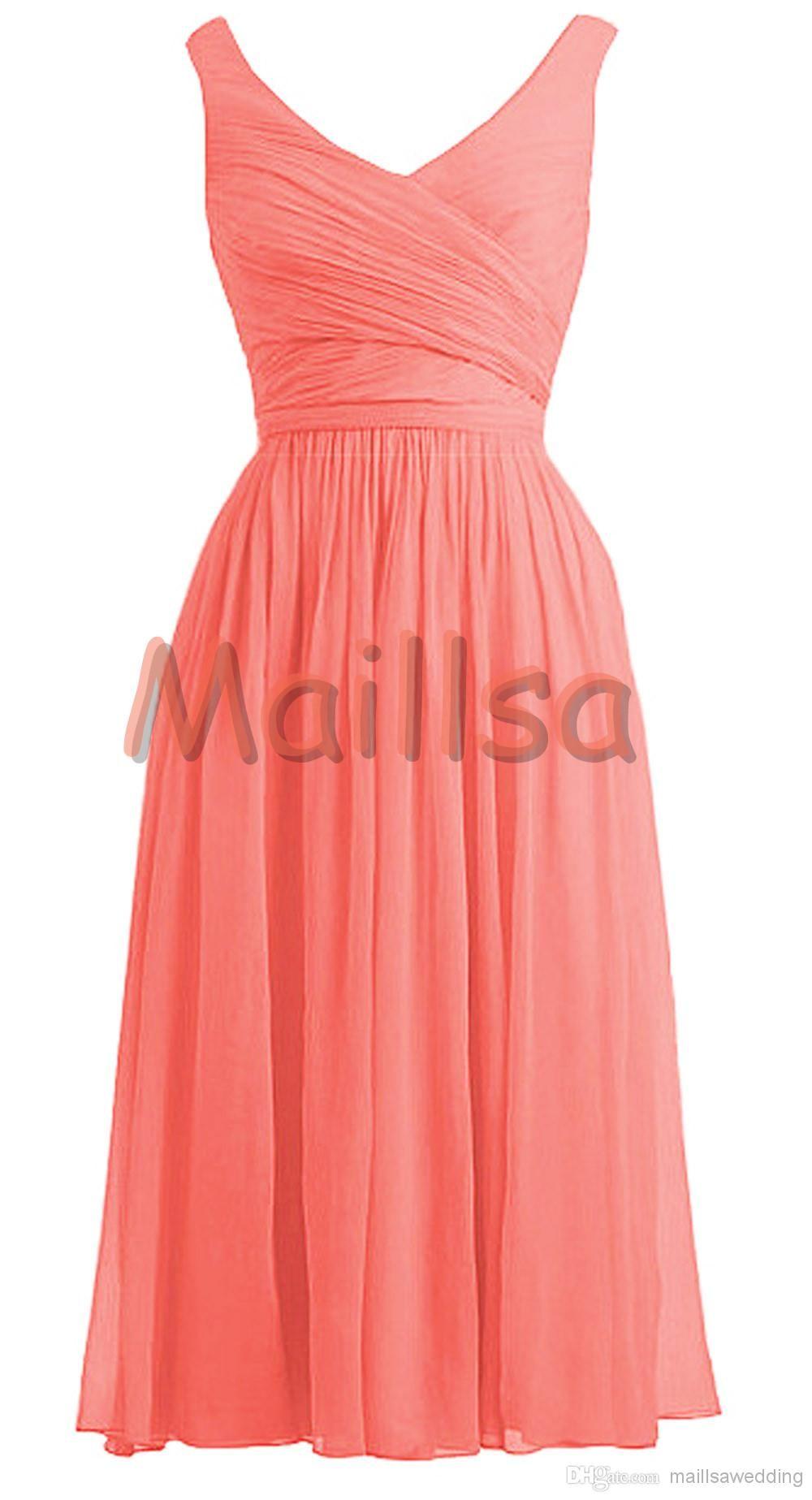 Wholesale Bridesmaid Dress - Buy Maillsa 2014 Chiffon V-Neck Elegant Prom Dresses Tea Length Bridesmaid Dresses, $51.3 | DHgate.com