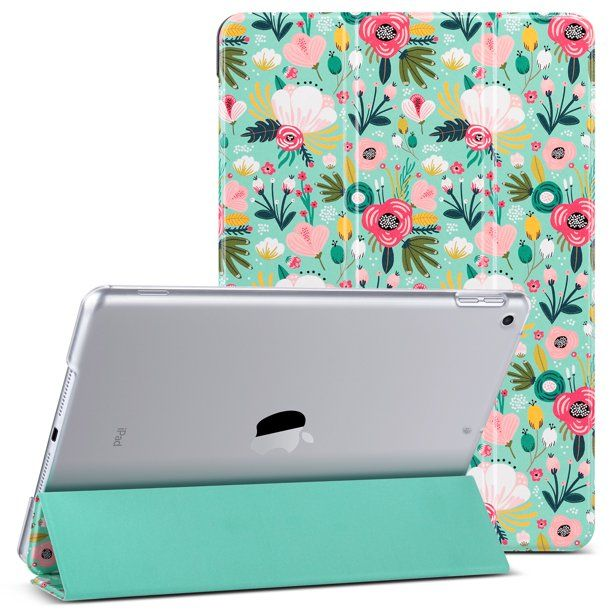 iPad 10.2 Case 2019,Ulak New Slim Lightweight Trifold Smart Shell with Auto Sleep/Wake,Premium Shockproof Translucent Frosted Back Cover Case for iPad 7th Generation 10.2 inch Tablet, Mint Floral - Walmart.com