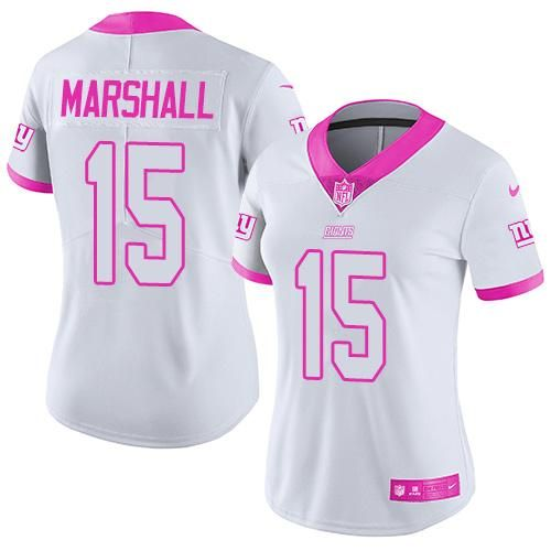 Nike Giants #15 Brandon Marshall White Pink Women's Stitched NFL Limited Rush Fashion Jersey
